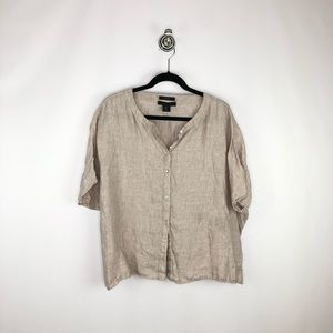 Tahari 100% Linen Short Sleeve Button Down Blouse